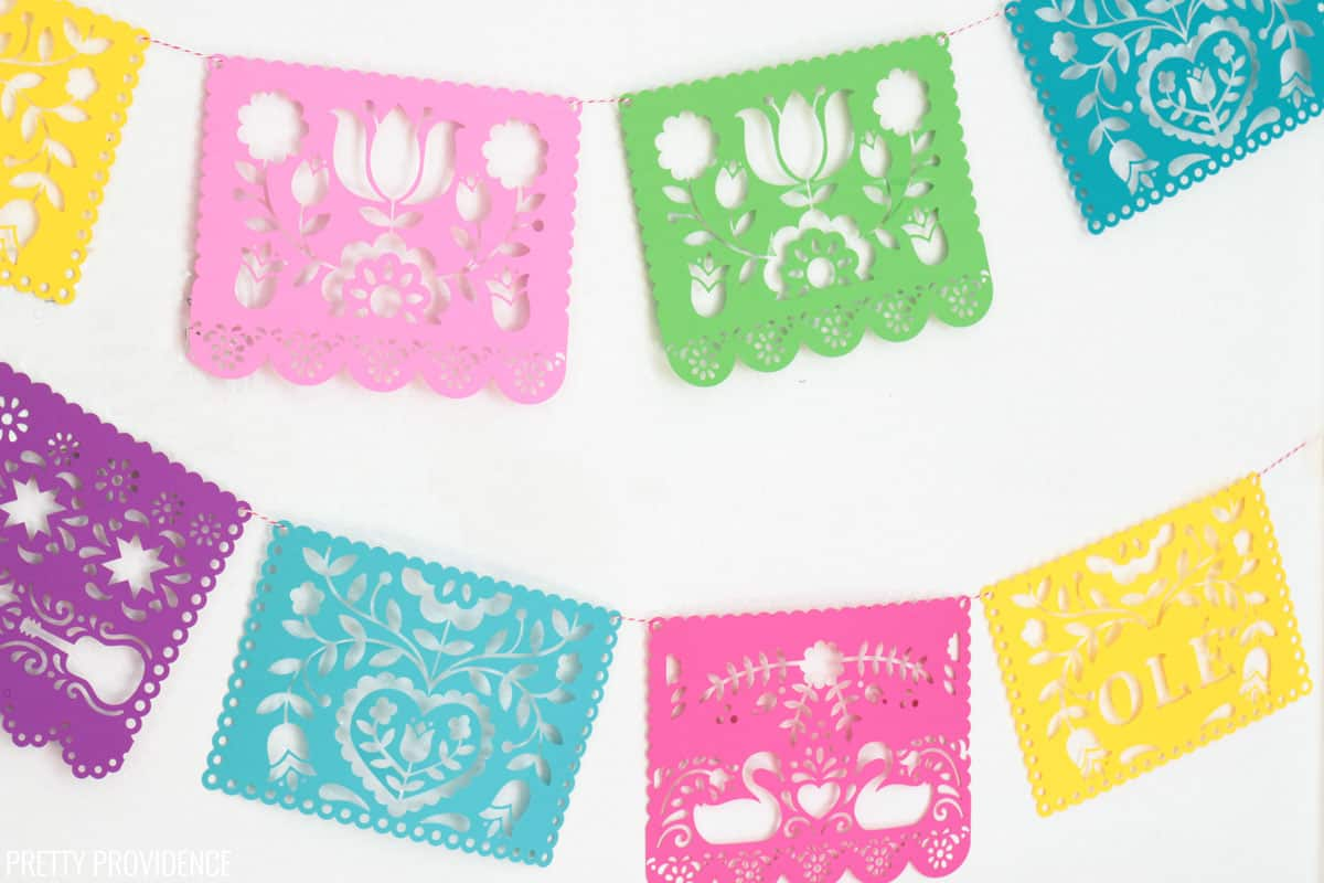 DIY Papel Picado Banner made with Cricut and colorful card stock