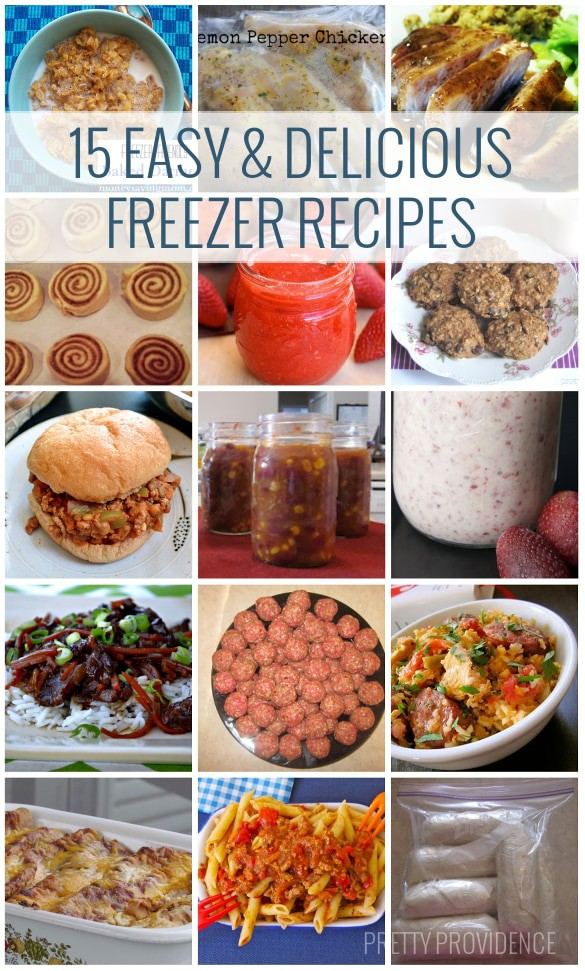 15 Easy & Delicious Freezer Recipes to try! Stock your freezer with healthy, on-the-go foods!