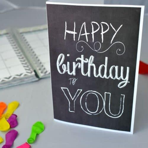 Birthday Chalkboard Card – Free Printable