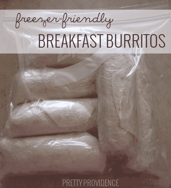 Freezer Friendly Breakfast Burritos! Make a batch & pull one out for a yummy on-the-go breakfast!