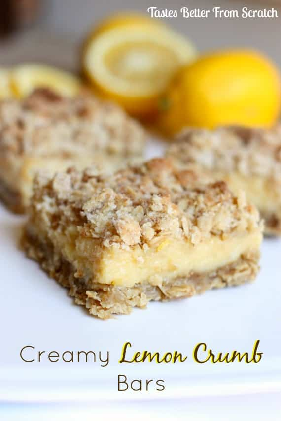 Creamy Lemon Crumb Bars recipe from TastesBetterFromScratch.com