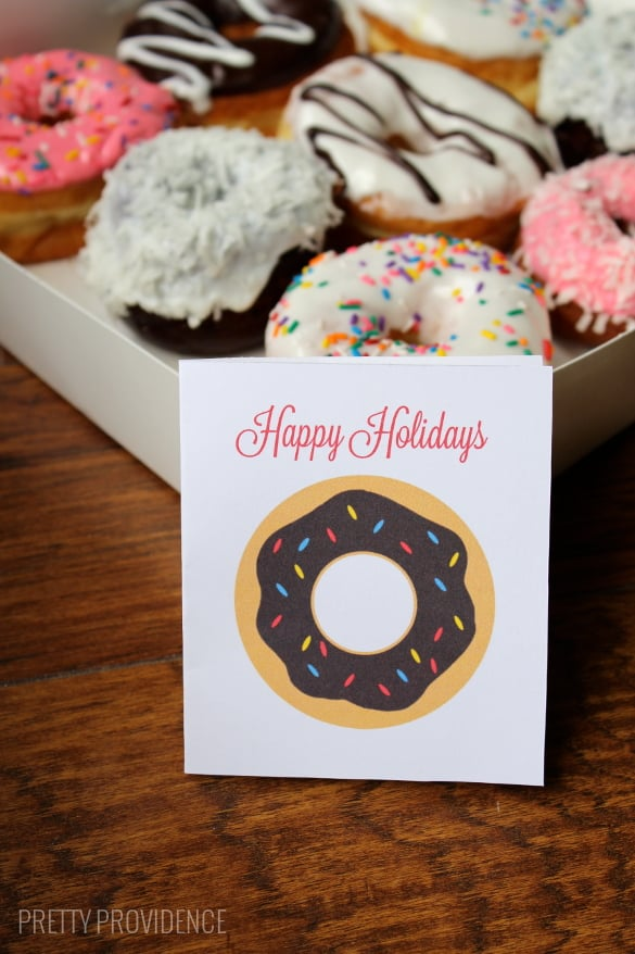 holiday donut gift tags - perfect for friend, co-worker or neighbor gifts!