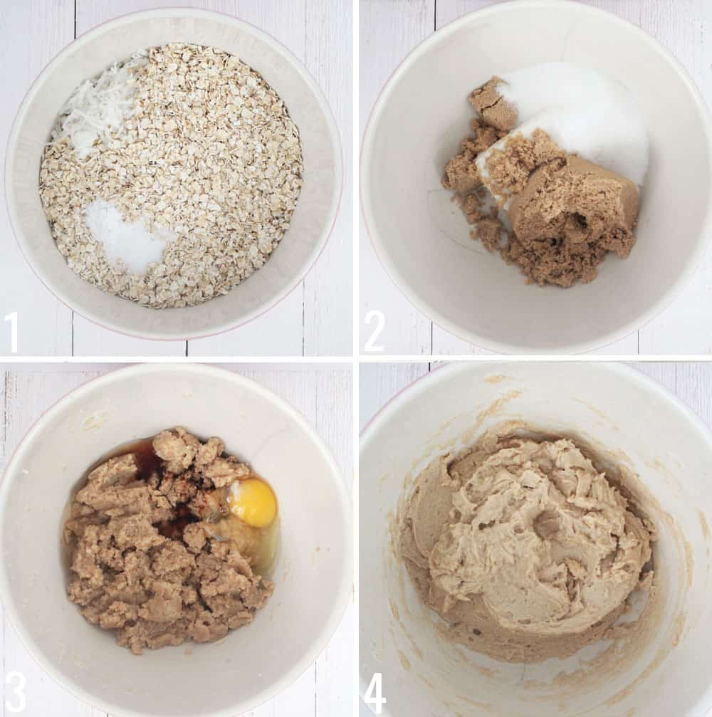 How to make Oatmeal scotchies step by step collage, adding sugars, butter, oil, eggs, and oatmeal.
