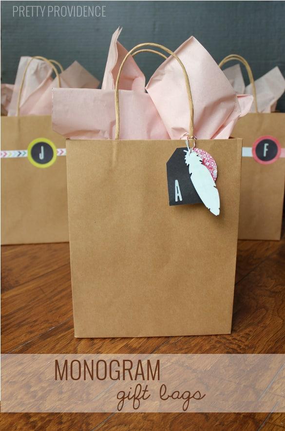 monogram gift bags