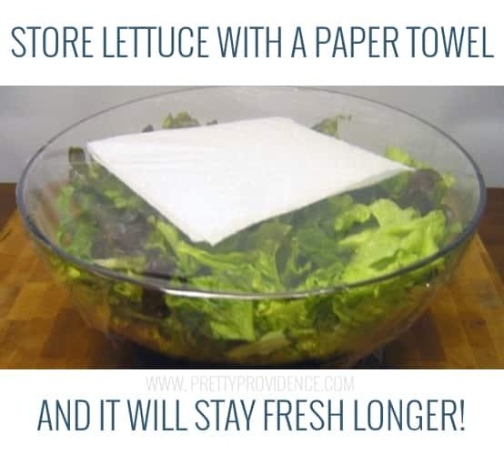 paper towel to keep lettuce fresh longer - genius!