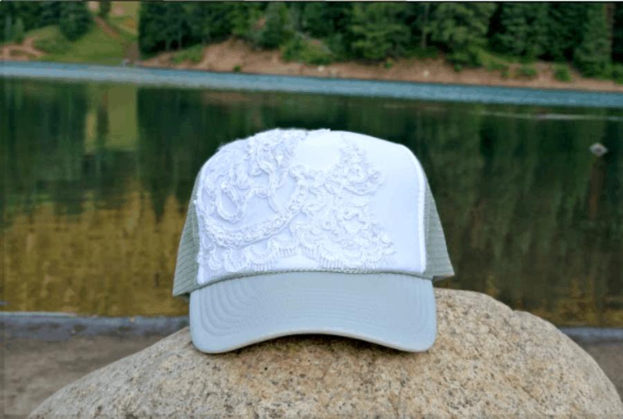 Lace Embellished Trucker Hat