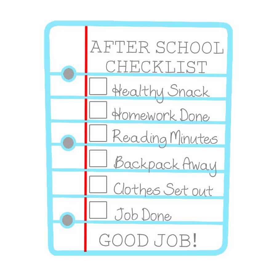 After School Checklist for Kids Free Printable