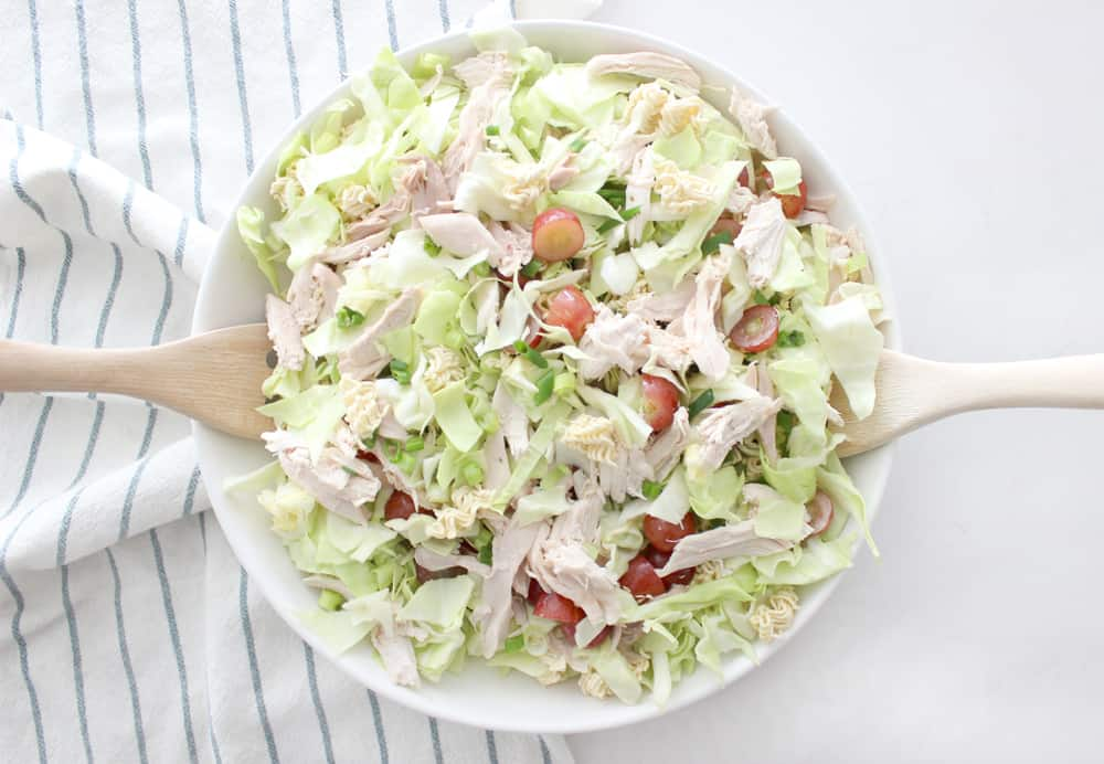 The best ever Chinese chicken salad with homemade oriental salad dressing! Perfect for any party or get together, or just for an easy healthy dinner!