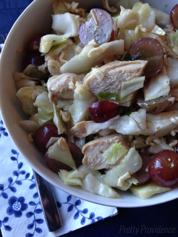 Easy Chinese chicken salad! I love bringing this one to get togethers, it always disappears so fast!
