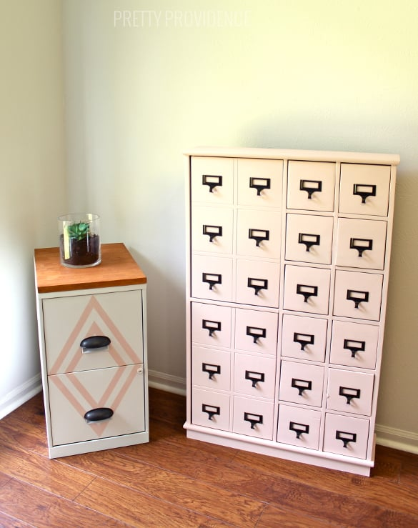 Bon Filing Cabinet Makeover! With A Little Paint, New Hardware And A Cute Wood  Top