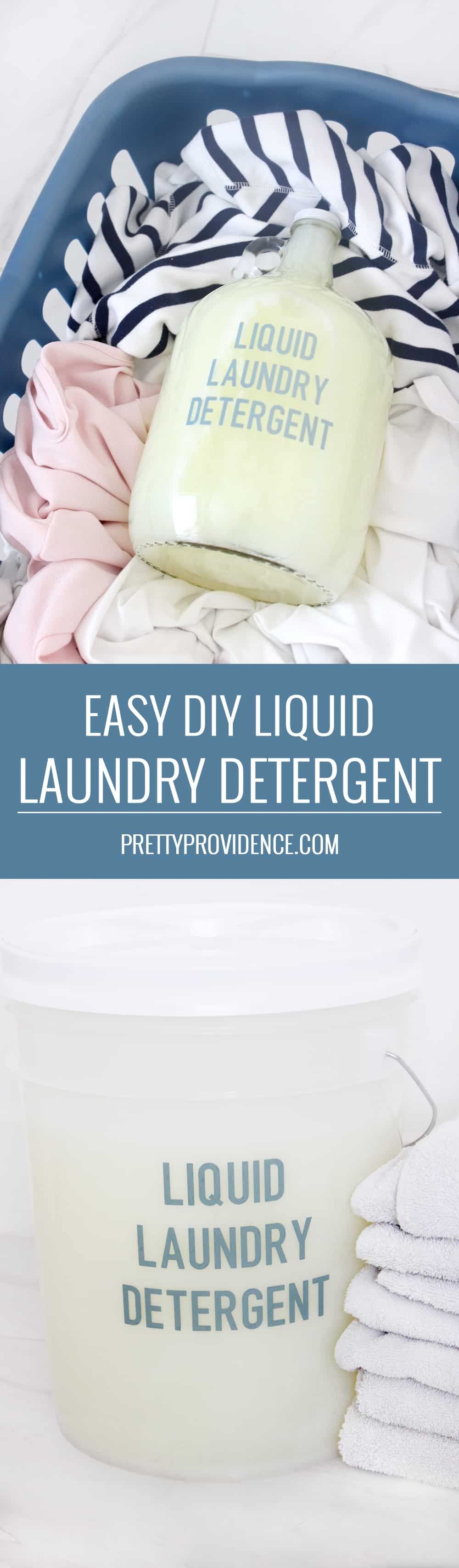 Easy homemade liquid laundry detergent! I love this stuff, and it will save you so much money laundry on detergent! The recipe makes a 5 gallon bucket and it works so well! #homemadelaundrydetergent #liquidlaundrydetergent #homemadeliquidlaundrydetergent #laundry #laundrydetergent #diylaundrydetergent #laundrydiy