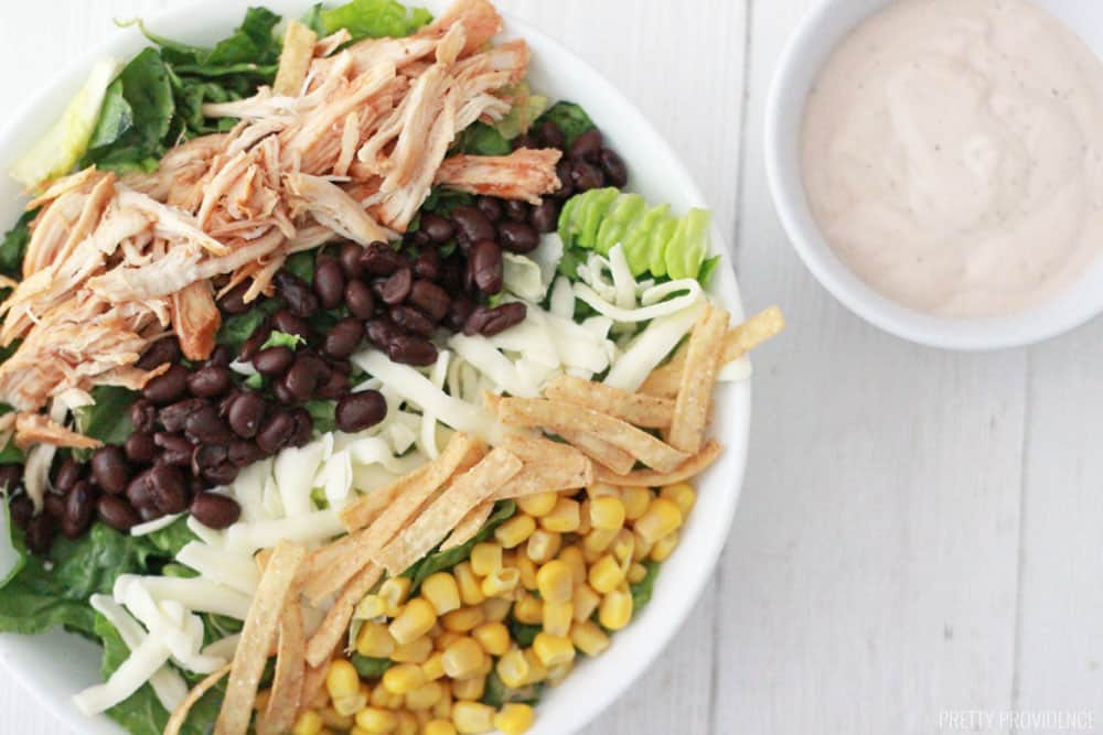 This easy recipe for BBQ chicken salad is perfect for dinner or lunch prep!