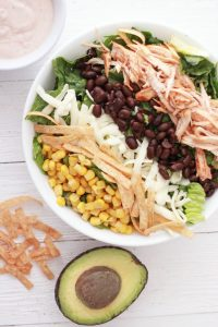Looking for easy salad recipes? It doesn't get better than BBQ chicken salad with BBQ ranch dressing!