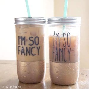 DIY gold dipped mason jar tumblers with 'I'm so Fancy' decals