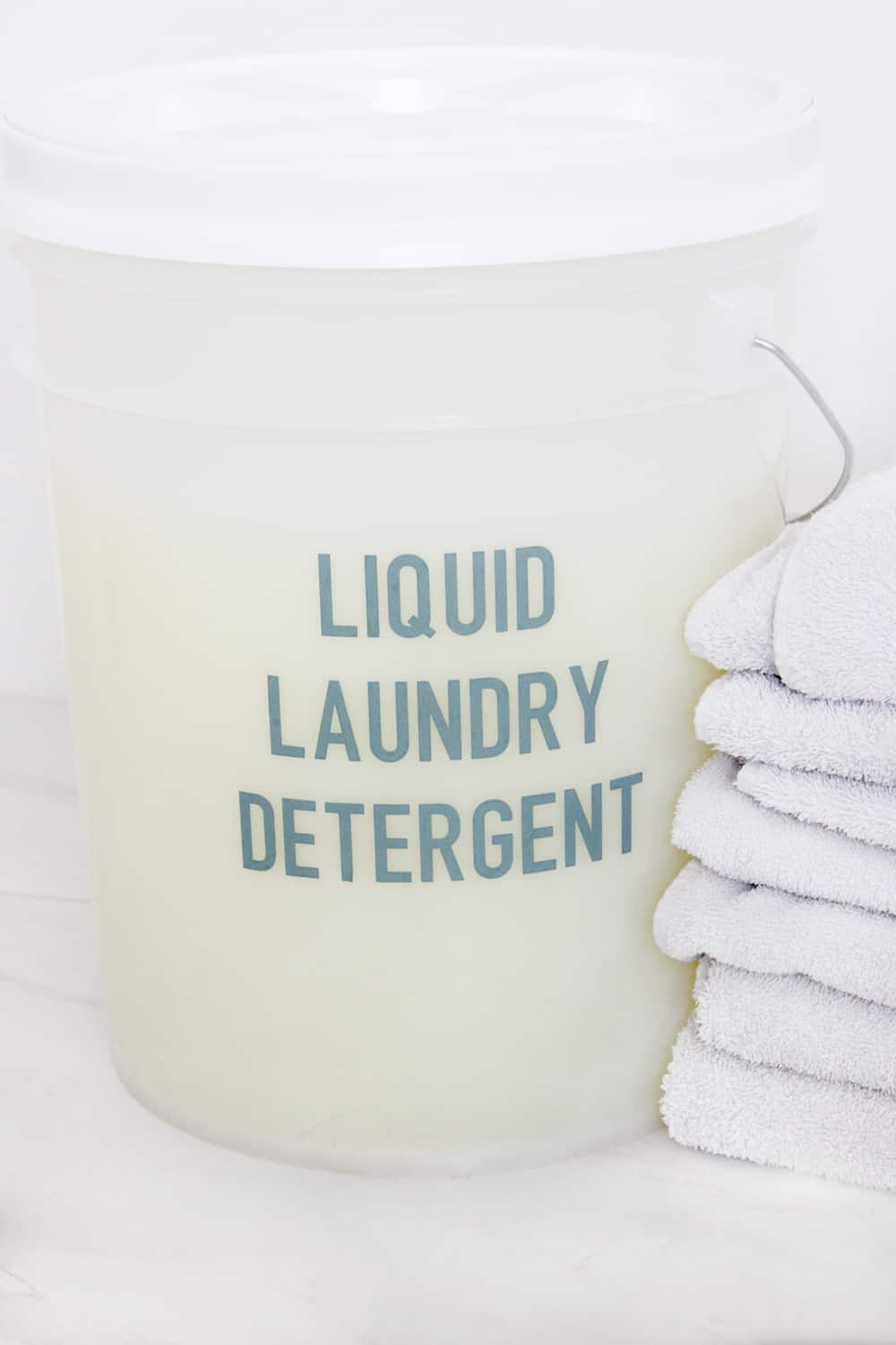 Easy DIY liquid laundry detergent in a 5 gallon bucket!