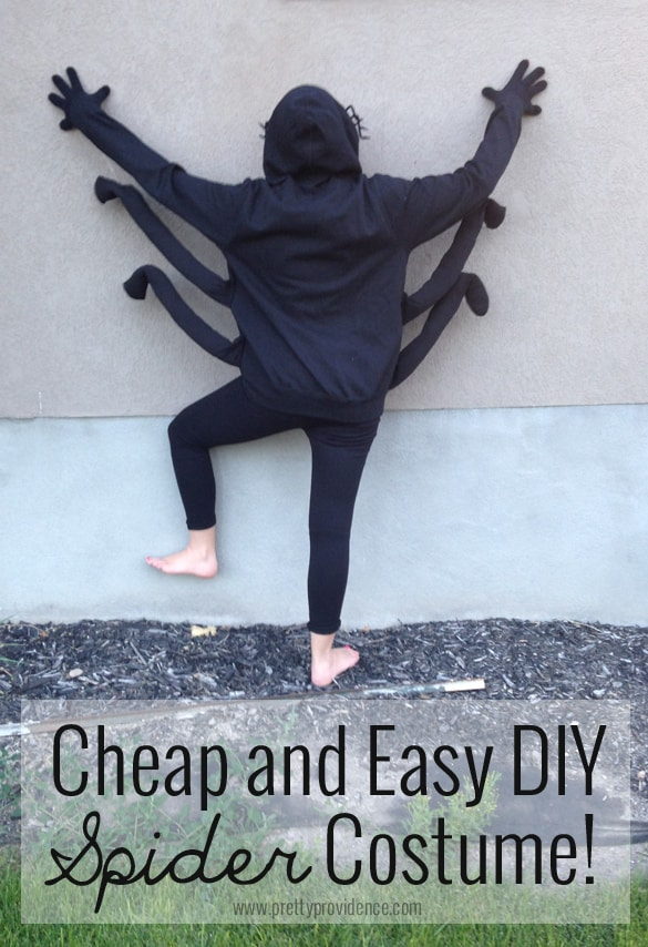 Cheap and easy DIY spider costume! Would be a super cute idea to have a whole family of spiders! Made from black sweatshirts and knee length nylons!