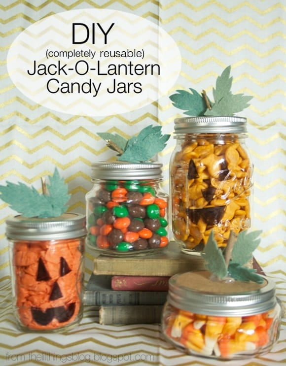 Make your candy jars look like Jack O Lanterns for Halloween! Quick, easy, and cheap way to get festive!