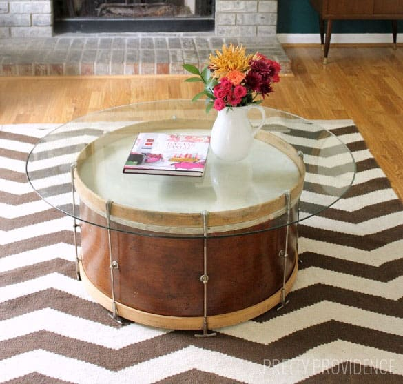 Salvaged Drum Coffee Table - Bass coffee table