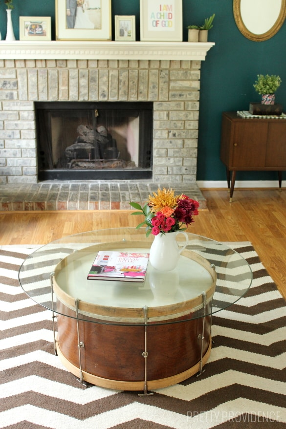 Repurpose a vintage drum into a coffee table! [Pretty Providence]
