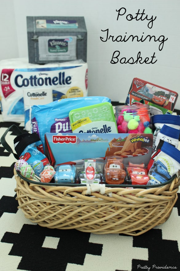 Fun and easy potty training basket to get little ones excited about going potty! (I love how it's not filled with treats!)
