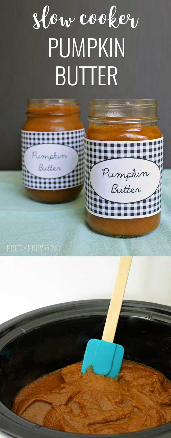 This homemade pumpkin butter is AMAZING and so easy - just throw everything in the slow cooker and it's ready in a few hours! So good on everything!
