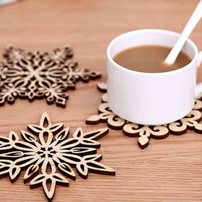 Aesthetic Wood Openwork carving Snowflake Coaster Cup mat Non-slip mats placemat