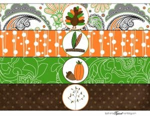 4 Thanksgiving designs meant to be cut apart for water bottle labels