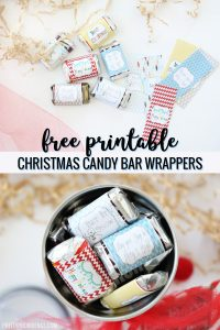 christmas candy bar wrappers next to candy bars on white counter over pic of candy bars filling a tumbler