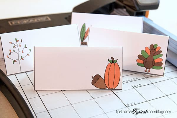 Free Thanksgiving Printable Place Cards on a paper cutter.