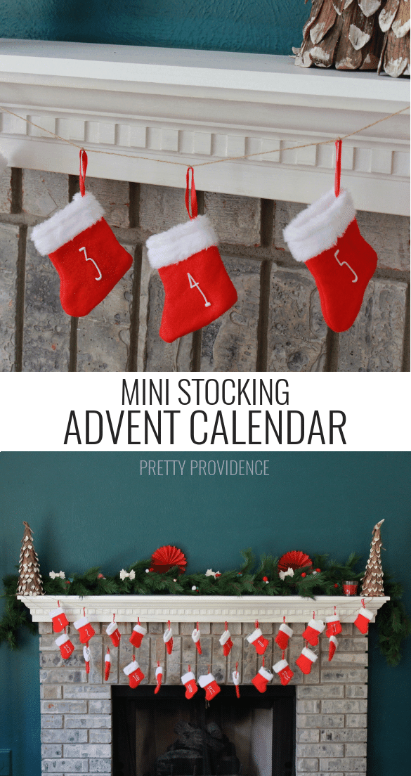 LOVE this DIY mini stocking advent calendar! Cute for decor + easy to make. prettyprovidence.com