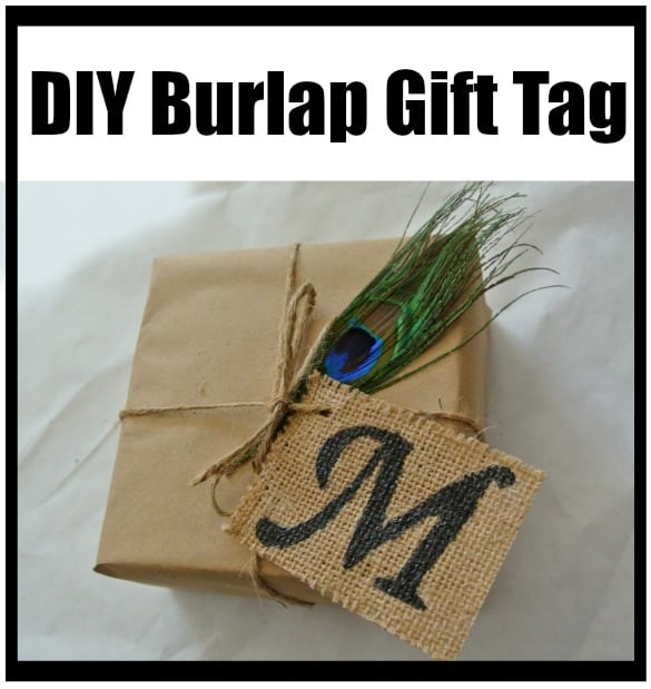 DIY Burlap gift tags.  She uses modpodge to prevent fraying.