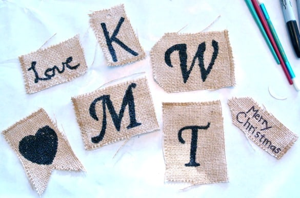 DIY Burlap Gift Tags--use mod podge to prevent fraying