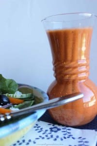 This red wine tomato vinaigrette is so good I could drink it! Seriously, best salad dressing EVER. Great on pasta salad too!