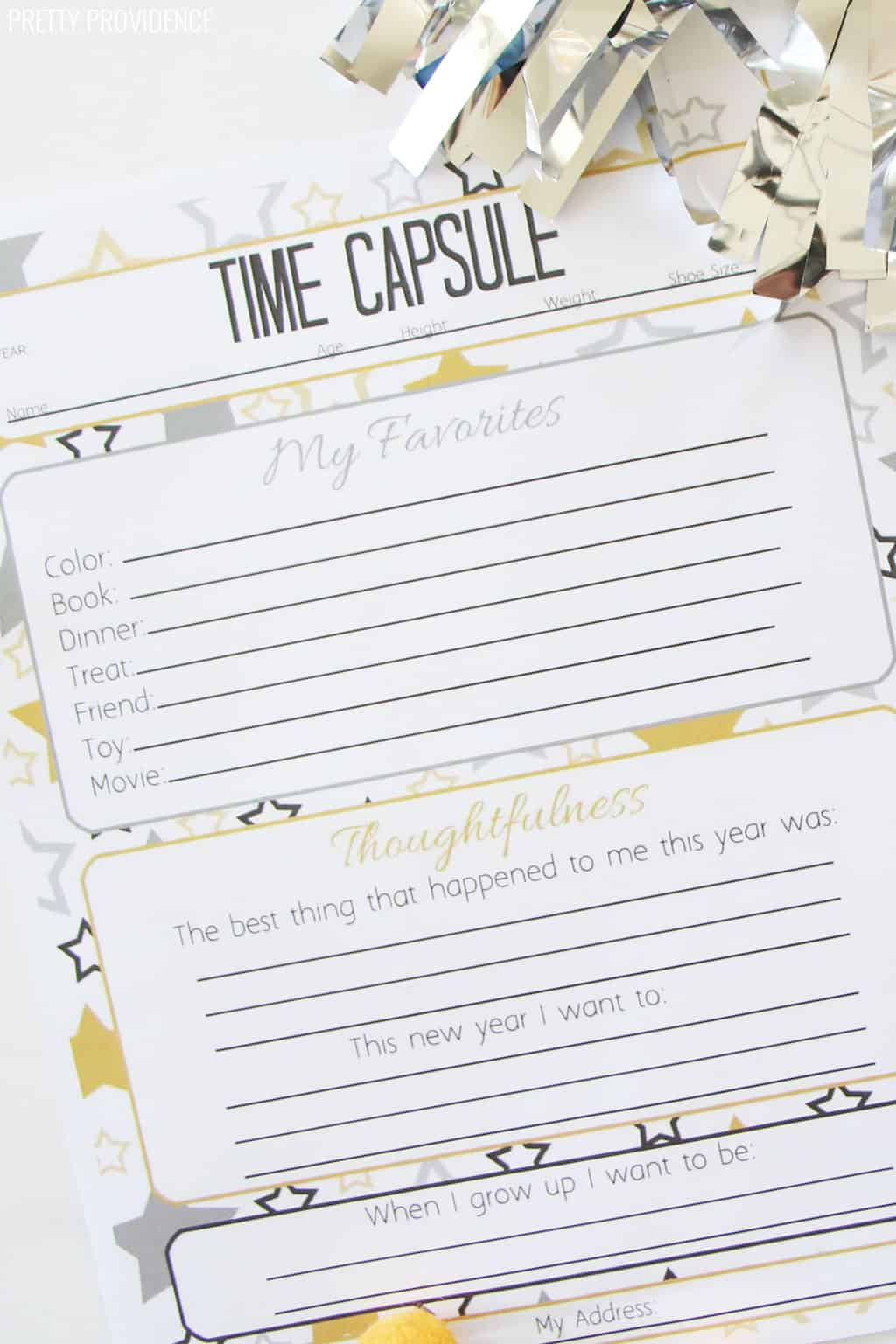 Time Capsule printable questionnaire for kids, close-up of paper