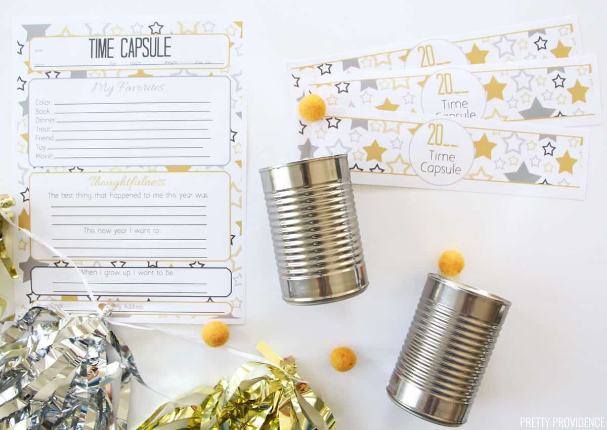 New Years Time Capsule Printable Questionnaire and tin can wrappers