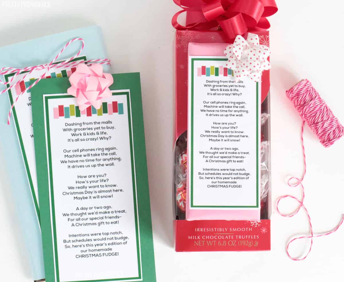 'Homemade' Christmas fudge poem on a bag of lindor truffles and candy bar with pink bakers twine on the side.