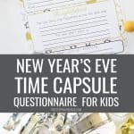New Year's Time Capsule Printable Questionnaire for kids - collage