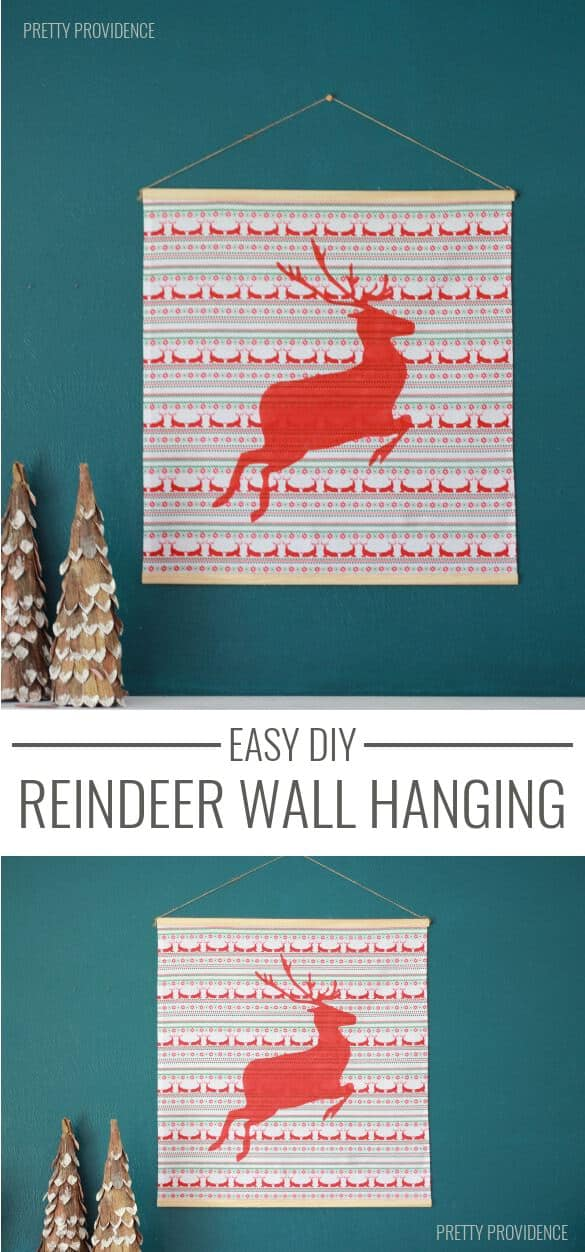 DIY Reindeer wall hanging - so EASY and CUTE! prettyprovidence.com