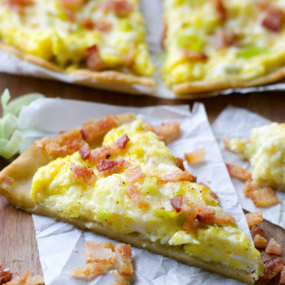 Breakfast Pizza with Leeks and Bacon