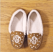DIY Monogram Slippers with Polka Dots
