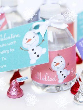 Disney Valentines Frozen Olaf Water Bottle Labels