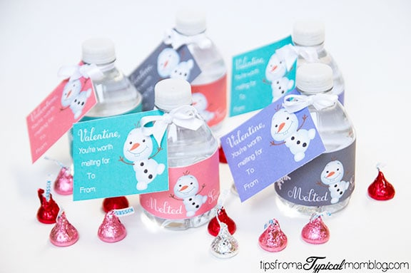 Frozen Olaf Free Printable Valentines on Water Bottles