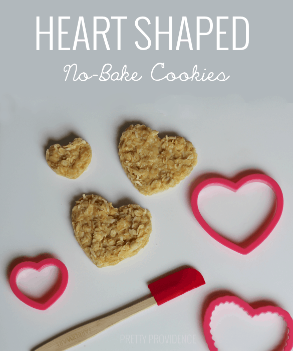 easy valentines treat idea: heart shaped no-bake cookies!