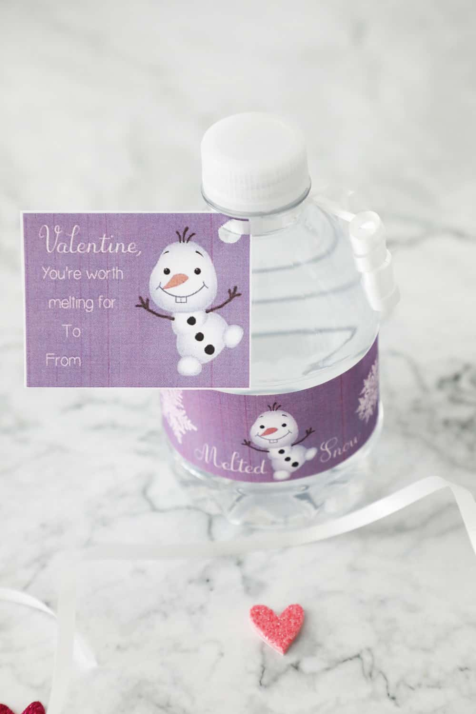purple frozen water bottle wrapper on a mini water sitting on a granite countertop