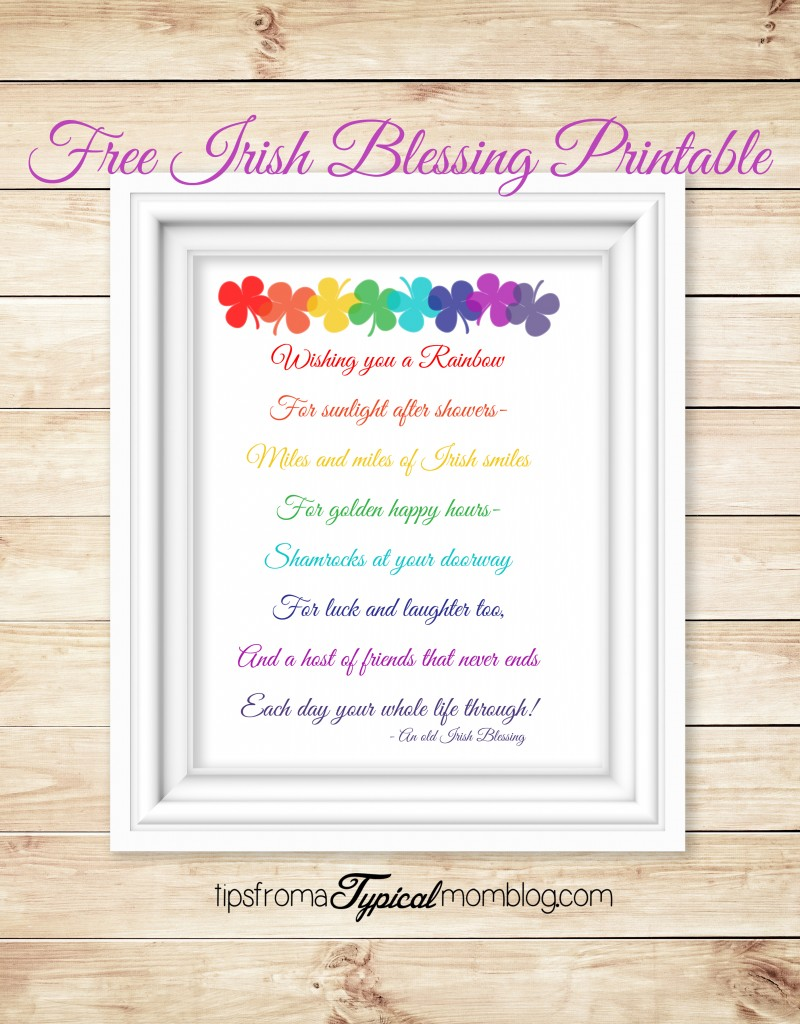 Free Irish Blessing Saint Patricks Day Printable