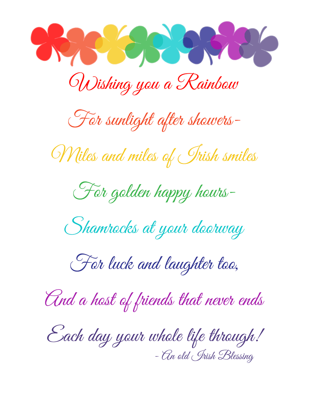 Free Irish Blessing Printable For St Patricks Day