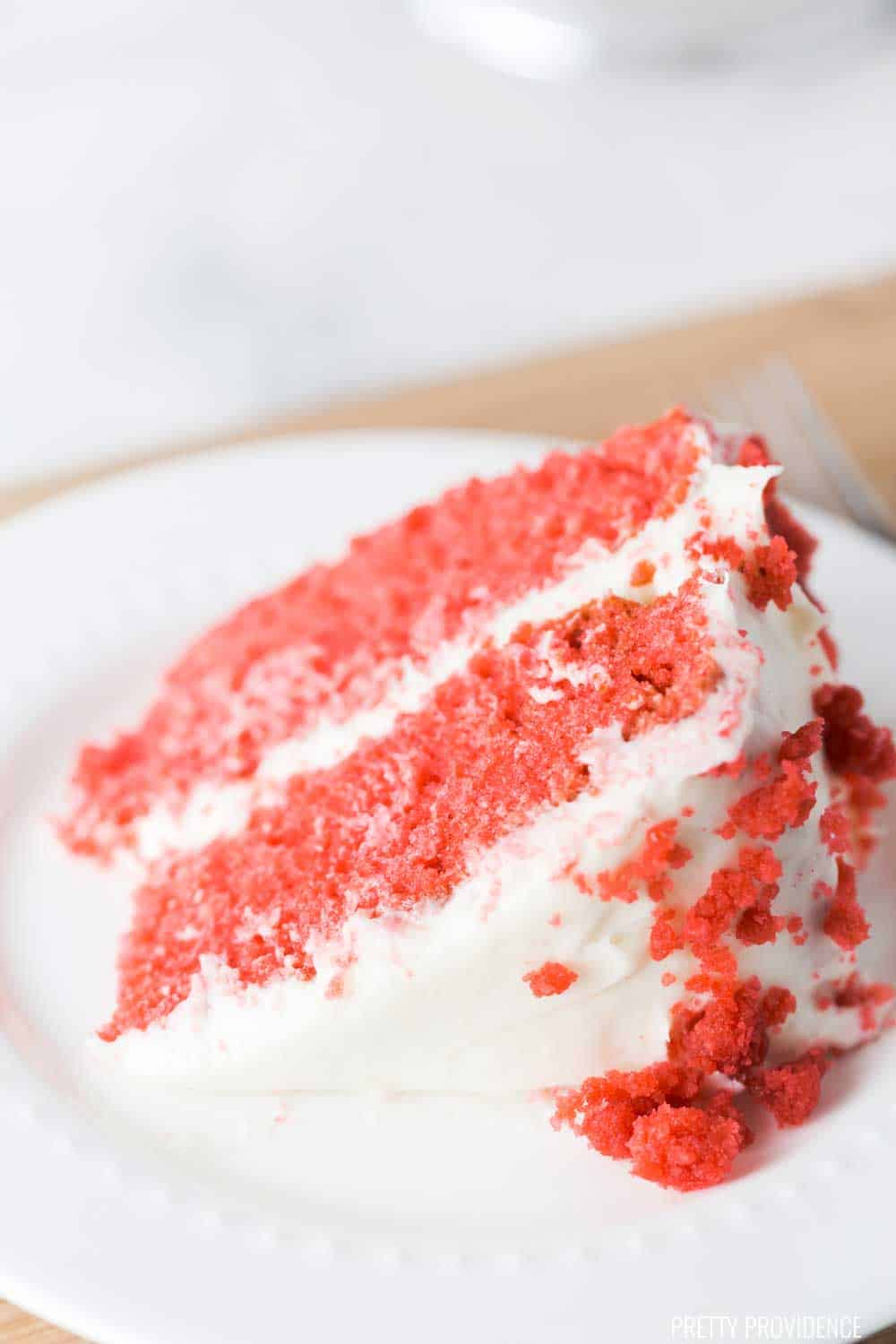This is the best red velvet cake I have ever had. So dang moist and delicious, you'll never make a red velvet box mix again!