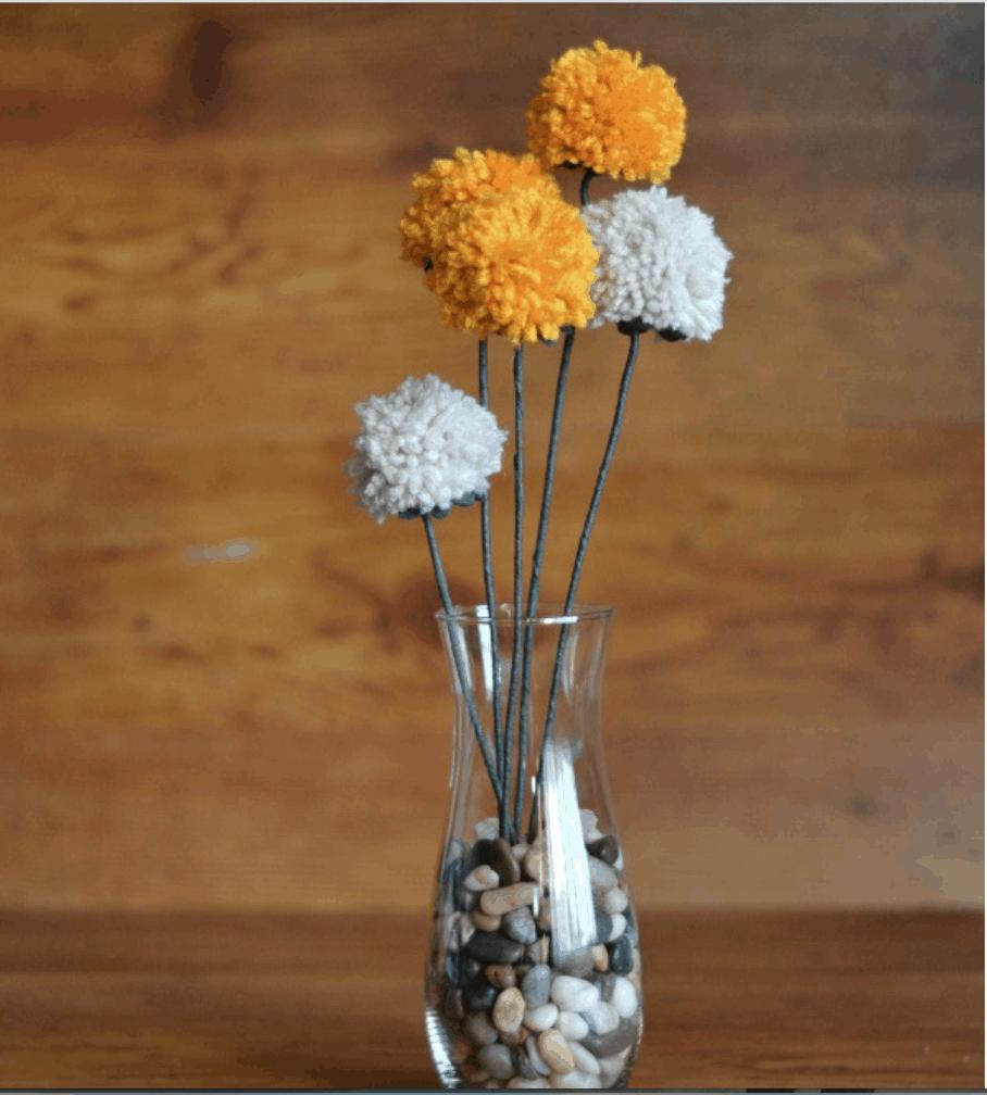 Shabby Chic Pom-Pom Flowers