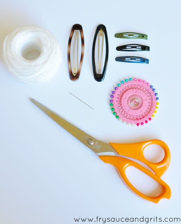 Supplies for Fabric Covered Hair Clips from FrySauceandGrits.com