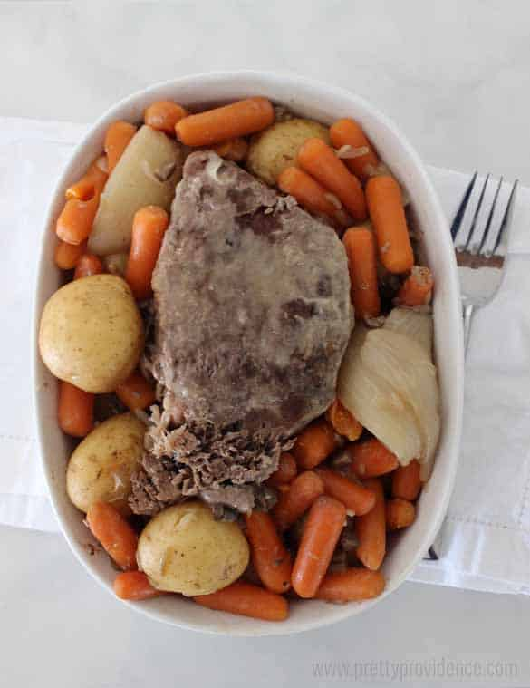 Our family loves this super easy crock-pot roast! Takes five minutes to prep, and tastes like you slaved for hours!